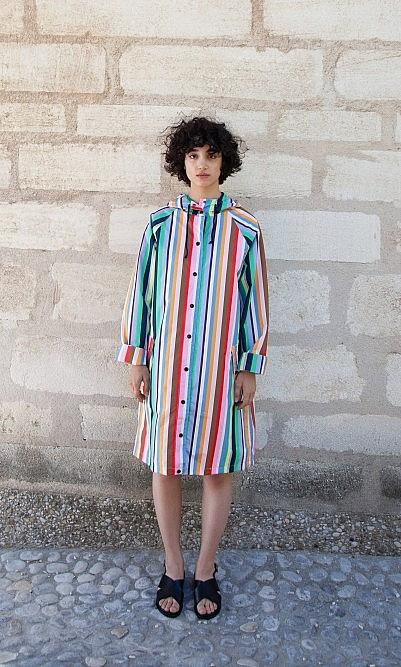 Multi stripe raincoat