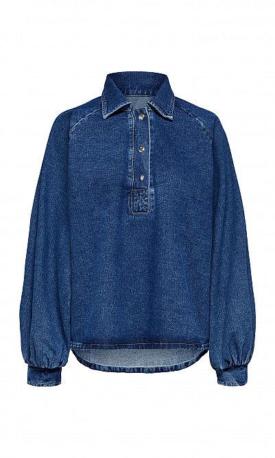 Dark rinse denim blouse