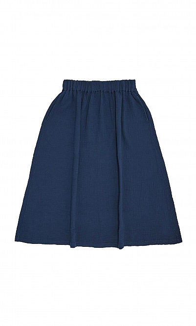 Navy crinkled cotton skirt