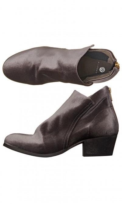 Grey velvet boots