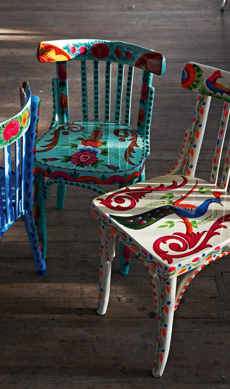the chairs are hand made and upcycled