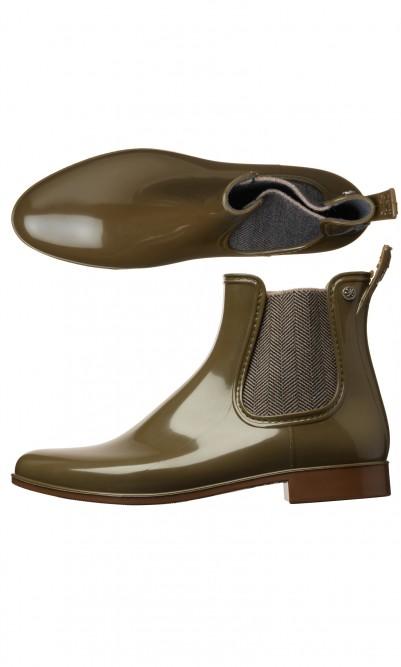 Khaki rubber boots