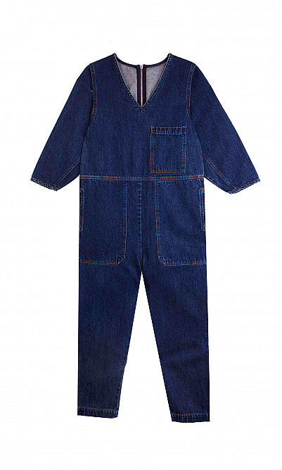 Pull denim boilersuit