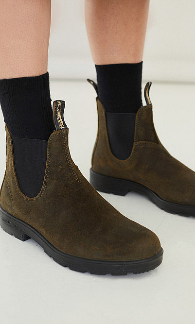 Olive Blundstone boots