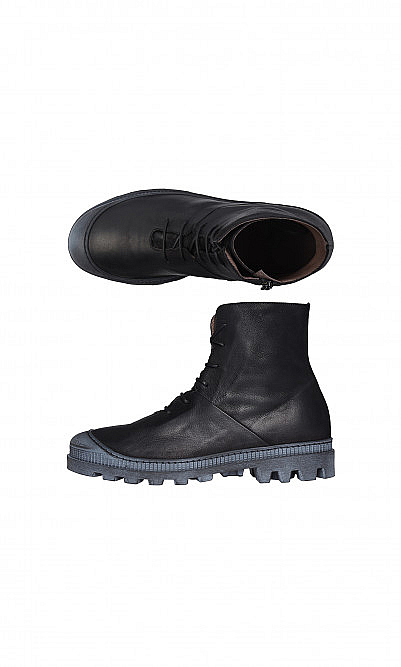 Black leather trainer boots