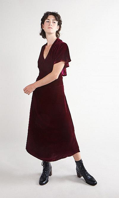 Berry velvet dress