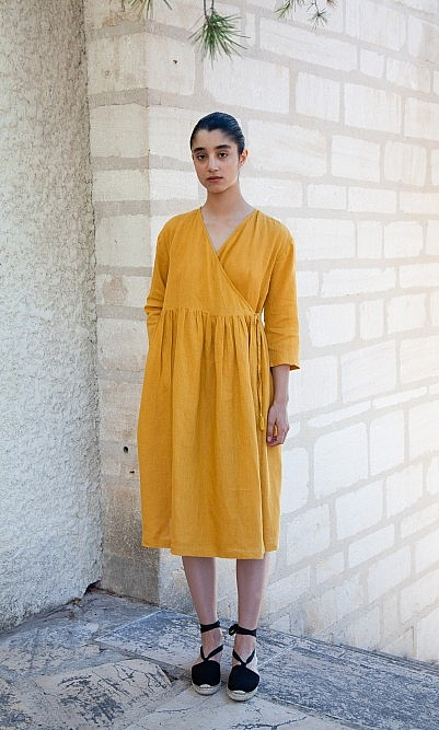 Saffron wrap dress