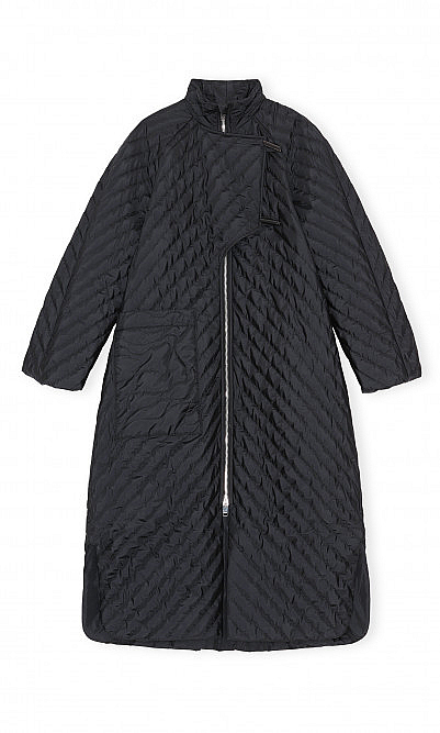 Coal quilted coat by Ganni