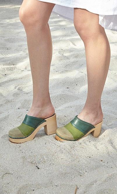 Green stripe clogs