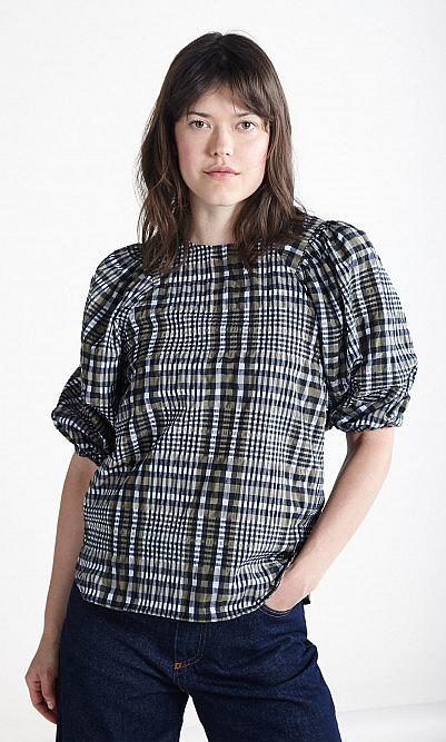 Ganni seersucker blouse