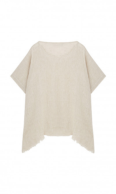 Fray natural linen top
